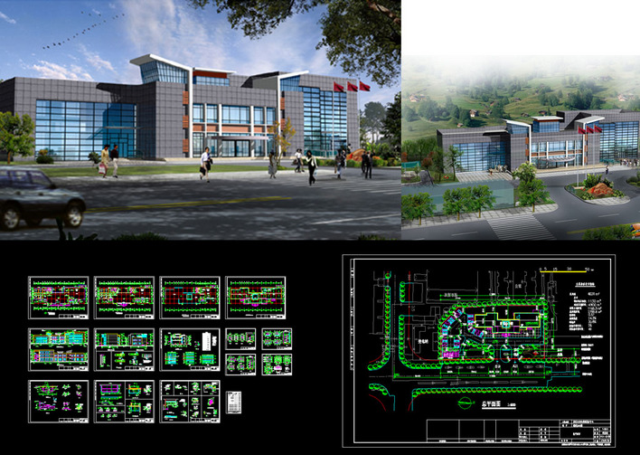 Community service center office building measures free for Office design dwg
