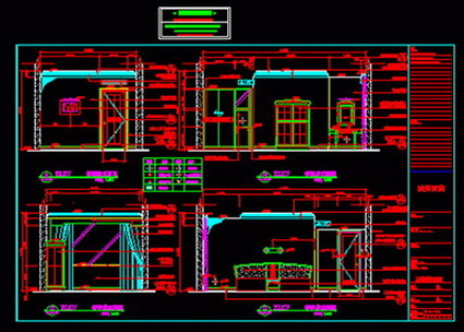 Entire business hotel renovation construction drawings, rotating ladder, Vestibule, bookcases Detailing