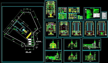 Church of Christ in a full set of building plans,CAD Flat View,CAD Decoration design