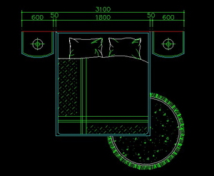 Fashion bed- CAD interior design drawing