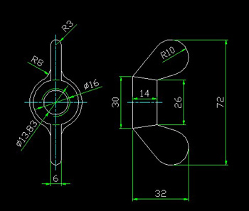 The wing nut CAD drawings