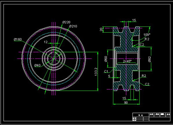 Pulley -1 CAD drawings