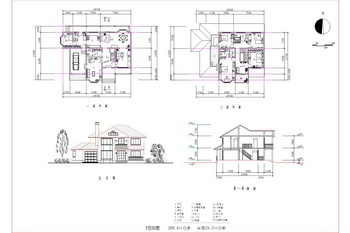 Scattered structure of two-story villa CAD drawings