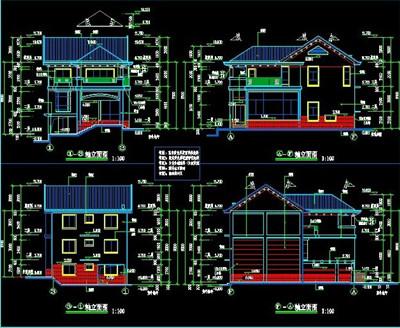 Three tier villa building plans free download autocad for Residential building drawings download