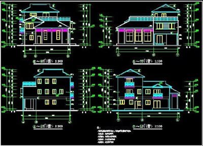 Scattered style villa building plans free download autocad for Villa plan dwg