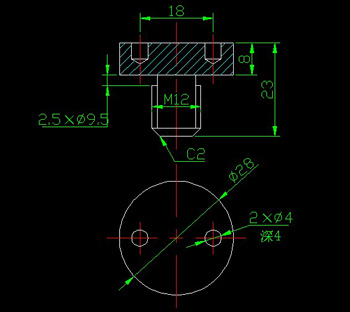 End with a screw hole circle CAD drawings