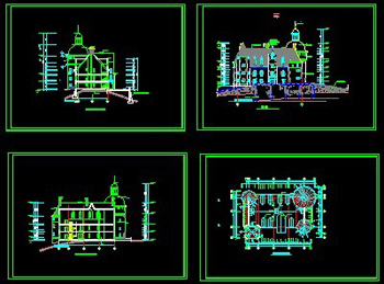 European ancient castle construction drawings CAD drawings