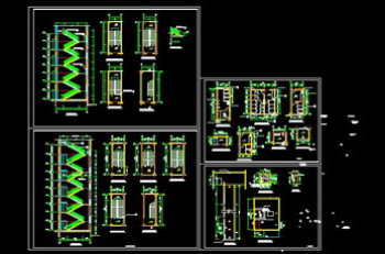 Stairs, elevators, bathrooms CAD bulk sample