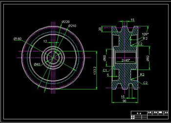 Drawings pulley 1CAD