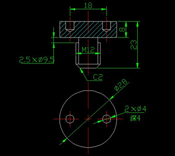 CAD drawings with the end face of the screw hole circle