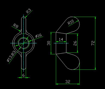 Wing nuts CAD drawings