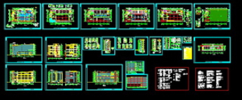 Multi-story building full set of CAD drawings