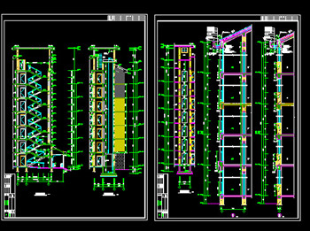 Seven residential buildings CAD drawing