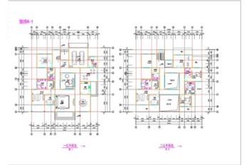 Isolated villa and atrium building plans CAD drawings